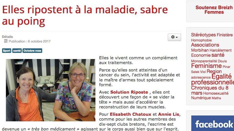 Solution Riposte Bretagne en une de Breizh Femmes